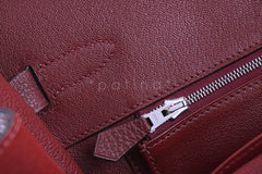 Hermes Red Rouge H 35cm Birkin Bag, Clemence PHW - Boutique Patina  - 19