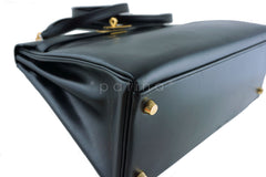 Hermes Kelly Bag, Black 32cm Box calf Retourne GHW - Boutique Patina  - 9