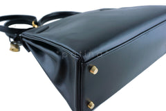 Hermes Kelly Bag, Black 32cm Box calf Retourne GHW - Boutique Patina  - 11
