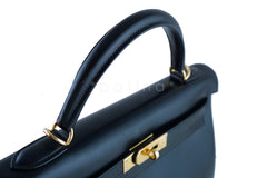 Hermes Kelly Bag, Black 32cm Box calf Retourne GHW - Boutique Patina  - 17