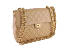 Chanel Beige Caviar Jumbo Quilted Classic 2.55 Flap Bag - Boutique Patina  - 2