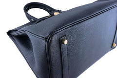 Hermes Birkin Bag, Black 35cm Fjord GHW - Boutique Patina  - 6