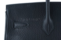 Hermes Birkin Bag, Black 35cm Fjord GHW - Boutique Patina  - 10