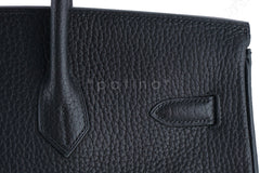 Hermes Birkin Bag, Black 35cm Fjord GHW - Boutique Patina  - 11