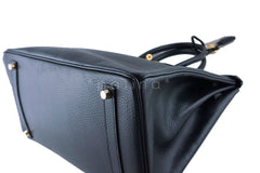 Hermes Black 35cm Birkin Bag, Vache Ardennes GHW - Boutique Patina  - 7