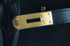 Hermes Black 35cm Birkin Bag, Vache Ardennes GHW - Boutique Patina  - 12
