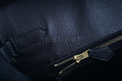 Hermes Black 35cm Birkin Bag, Vache Ardennes GHW - Boutique Patina  - 15