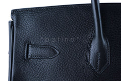 Hermes Black 35cm Birkin Bag, Vache Ardennes GHW - Boutique Patina  - 16