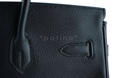 Hermes Black 35cm Birkin Bag, Vache Ardennes GHW - Boutique Patina  - 17