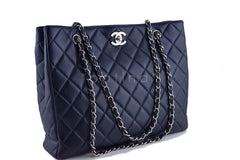 Chanel Caviar Navy Blue Classic Quilted Shopper Tote Bag - Boutique Patina  - 2