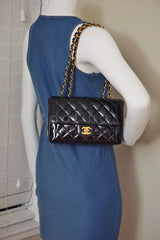 Chanel Black Vintage Patent Classic Medium 2.55 Quilted Flap Bag - Boutique Patina  - 15