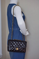 Chanel Black Vintage Patent Classic Medium 2.55 Quilted Flap Bag - Boutique Patina  - 16