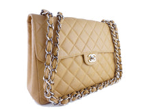 Chanel Camel Beige Caviar Jumbo Quilted Classic 2.55 Flap Bag - Boutique Patina  - 2
