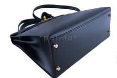 Hermes Black 32cm Box calf Kelly Sellier Bag, GHW - Boutique Patina  - 7