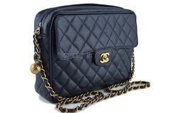 Chanel Black Caviar Classic Quilted Flap Camera Purse Bag - Boutique Patina  - 2