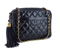 Chanel Black Patent Classic Quilted Camera Case Bag - Boutique Patina  - 2