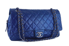 Chanel Blue Caviar Iridescent/Metallic Jumbo-sized Classic Easy Flap Bag - Boutique Patina  - 2