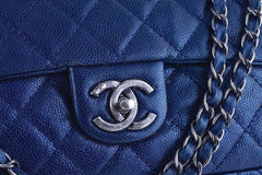 Chanel Blue Caviar Iridescent/Metallic Jumbo-sized Classic Easy Flap Bag - Boutique Patina  - 7