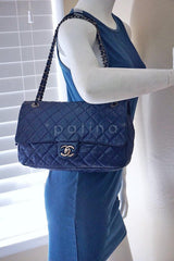 Chanel Blue Caviar Iridescent/Metallic Jumbo-sized Classic Easy Flap Bag - Boutique Patina  - 12