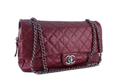 Chanel Iridescent Red Caviar Jumbo-sized Classic Easy Flap Bag - Boutique Patina  - 2