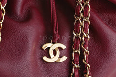 Chanel Red Soft Textured CC Logo Drawstring Tote Shopper Bag - Boutique Patina  - 6