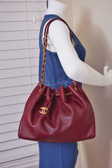 Chanel Red Soft Textured CC Logo Drawstring Tote Shopper Bag - Boutique Patina  - 11