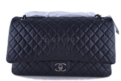 NWT 16S Chanel Black Calf 18in. XXL Runway Travel Classic Flap Bag - Boutique Patina  - 2