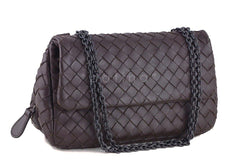 Bottega Veneta Ebano Brown Messenger Bag Woven Lambskin Cross Body - Boutique Patina  - 2