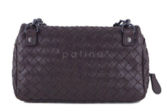 Bottega Veneta Ebano Brown Messenger Bag Woven Lambskin Cross Body - Boutique Patina  - 4
