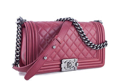 Chanel Dusty Rose Le Boy Classic Flap, Pink Medium Lambskin Bag - Boutique Patina  - 2