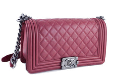 Chanel Dusty Rose Le Boy Classic Flap, Pink Medium Lambskin Bag - Boutique Patina  - 3