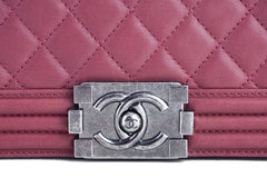 Chanel Dusty Rose Le Boy Classic Flap, Pink Medium Lambskin Bag - Boutique Patina  - 8