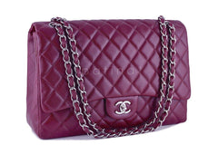 Chanel Dark Red 13in. Caviar Maxi Quilted Classic 2.55 Jumbo XL Flap Bag - Boutique Patina  - 2