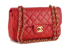 Chanel Red Lambskin Medium-Small Classic 2.55 Double Flap Bag - Boutique Patina  - 2