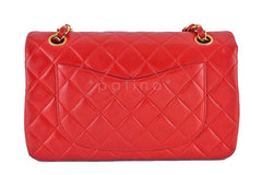 Chanel Red Lambskin Medium-Small Classic 2.55 Double Flap Bag - Boutique Patina  - 4
