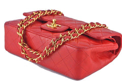 Chanel Red Lambskin Medium-Small Classic 2.55 Double Flap Bag - Boutique Patina  - 7