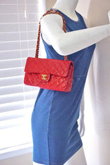 Chanel Red Lambskin Medium-Small Classic 2.55 Double Flap Bag - Boutique Patina  - 14