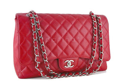 Chanel 10C Red Caviar Maxi Quilted Classic 2.55 Jumbo XL Flap Bag - Boutique Patina  - 2