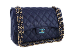 Chanel Navy Blue Caviar Jumbo 2.55 Classic Double Flap Bag - Boutique Patina  - 2