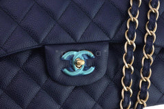 Chanel Navy Blue Caviar Jumbo 2.55 Classic Double Flap Bag - Boutique Patina  - 7