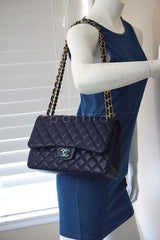 Chanel Navy Blue Caviar Jumbo 2.55 Classic Double Flap Bag - Boutique Patina  - 13