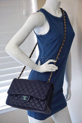Chanel Navy Blue Caviar Jumbo 2.55 Classic Double Flap Bag - Boutique Patina  - 14