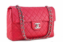 Chanel Caviar Fuchsia Pink-Red 13in. Maxi Quilted Classic 2.55 Jumbo Flap Bag