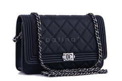 NWT 16A Chanel Black Caviar Boy Classic Quilted WOC Wallet on Chain Flap Bag - Boutique Patina  - 2