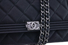 NWT 16A Chanel Black Caviar Boy Classic Quilted WOC Wallet on Chain Flap Bag - Boutique Patina  - 8