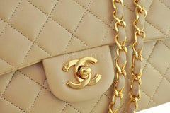 Chanel Beige Lambskin Medium-Small Classic 2.55 Double Flap Bag