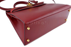 Hermes Rouge H Red 32cm Box calf Kelly Sellier Bag - Boutique Patina  - 6
