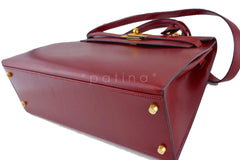 Hermes Rouge H Red 32cm Box calf Kelly Sellier Bag - Boutique Patina  - 7