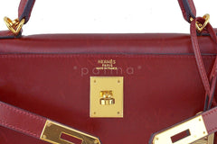 Hermes Rouge H Red 32cm Box calf Kelly Sellier Bag - Boutique Patina  - 14