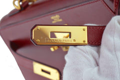 Hermes Rouge H Red 32cm Box calf Kelly Sellier Bag - Boutique Patina  - 15